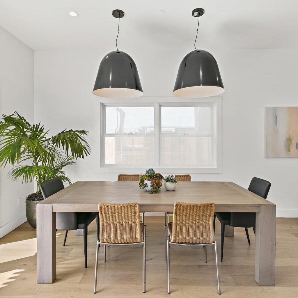 Dining room with modern lighting